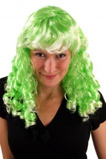 Damenperücke Cosplay Karneval Korkenzieherlocken Locken Pony grün lang Perrücke