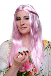 Karneval Perücke lang glatt sanft Rosa/Pink Fee Elfe Prinzessin Hippie Elfen Wig