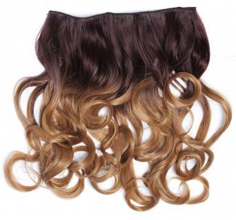 Clip-in Extension Haarverlängerung breit Locken Ombre Rotbraun Dunkelblond
