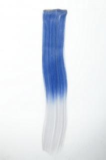 Breite Extension 2 Clips Strähne Haarverlängerung glatt Ombre 45cm Blau Weiß