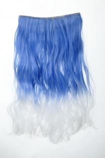 Extension Haarverlängerung Clip-In 5 Clip lockig zweifarbig Ombre Blau-Weiß 50cm