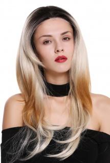 Perücke Damenperücke Lace-Front lang glatt Teil-Mono Ombre Schwarz Blond Mix
