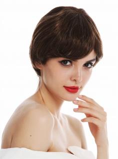 Perücke Damen Monofilament kurz Pagenkopf glatt Braun Blond gesträhnt wig