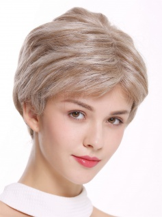 Perücke Damenperücke kurz edel Teil-Monofilament handgeknüpft Blond Mix SARA-MF