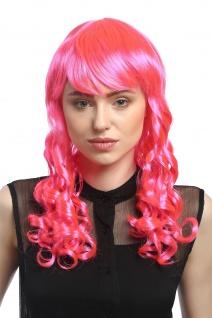 Perücke Damen Karneval Fasching Cosplay Korkenzieher Locken lang Pony rosa pink
