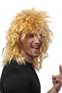 Perücke Damen Herren Karneval Wilde Kink-Locken Löwe Proll Vokuhila Hell-Blond