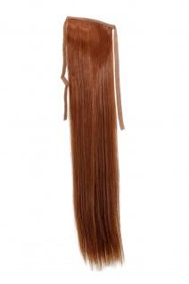 Haarteil ZOPF Rot-Braun glatt 45cm YZF-TS18-30 Band Klammer Haarverlängerung