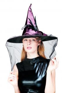 Hut Karneval Halloween Hexe Hexenhut Wicked Witch Spitzhut Federn Aufwendig H20