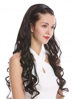 Halbperücke Haarteil Haarreif Haarband Dunkelbraun gelockt Locken lang 70 cm