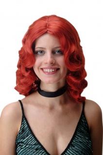 Damen Perücke Wasserwelle Classic Hollywood Diva gewellt lang Volumen feurig Rot - Vorschau 1