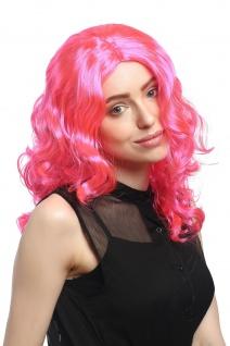 Perücke Damen Karneval lang Volumen Locken lockig Mittelscheitel rosa pink - Vorschau 4