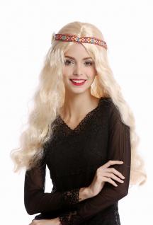 Perücke Blumenkind Hippie 60er 70er lang blond wellig Mittelscheitel Stirnband - Vorschau 2
