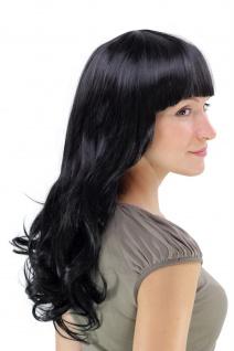 Perücke Haarpracht schwarz lang gewellt voluminöser voller Pony YZF-7080L Wig - Vorschau 3