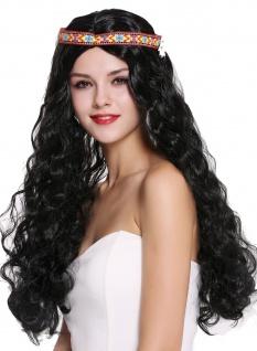 Perücke Blumenkind Hippie 60s 70s lang schwarz wellig Mittelscheitel Stirnband