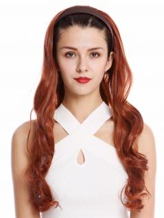 Halbperücke Haarteil Haarreif Haarband Rot wellig gelockt Locken lang 65 cm