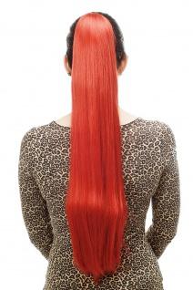 Haarteil/Zopf sehr lang glatt Butterfly-Klammer 70cm Leuchtend Rot T113-137