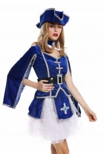 Kostüm Damen Frauen Karneval Barock Soldat Musketier Edelfrau Hut blau S W-0284