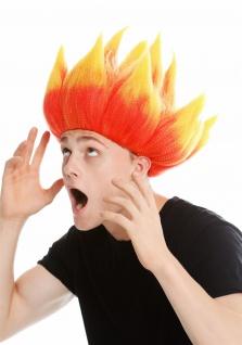 Perücke Damen Herren hochtoupiert Dämon Feuer Teufel Troll Blume Rot Gelb