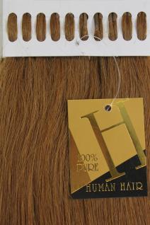 Echthaar Extensions Set 100x 1g Strähnen Keratin Bondings 49cm Brünett 18HH-1G-8