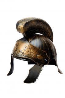 Helm Helmbusch Visier Rom Centurion Legionär Gladiator Cäsar Bronzefarben H82