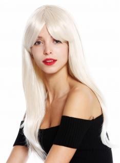 Perücke Damen lang glatt langer Pony gescheitelt Blond Weißblond Gesträhnt - Vorschau 3