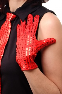 Handschuhe Fasching Karneval Revue Cabaret Pailletten Rot 80er 70er VQ-021-RED