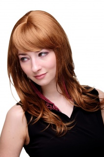 Damenperücke lang Perücke rotblond blond Pony Scheitel frisierbar gestuft 4038