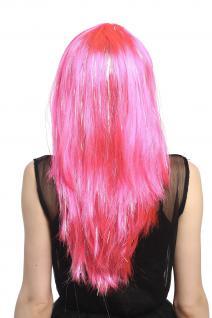 Perücke Karneval Fasching Damen lang glatt Pony rosa pink Glitter Strähnen XR003 - Vorschau 4