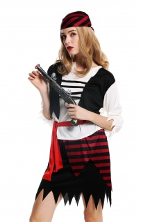 Kostüm Damen Frauen Karneval Halloween Piratin Seeräuberin Gr. M/L W-0003