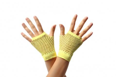 Handschuhe Netzhandschuhe Gelb fingerlos Netz kurz 80er Punk Rocker Gothic Emo