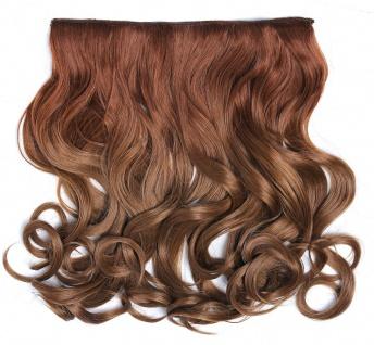 Clip-in Extension Haarverlängerung breit gelockt Locken Ombre Dunkelblond Rot