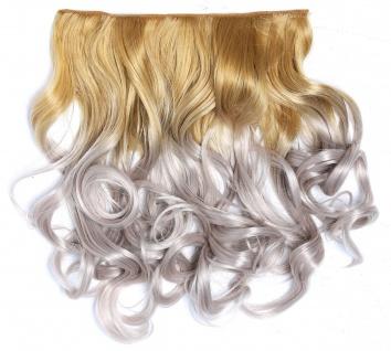 Clip-in Extension Haarverlängerung breit gelockt Locken Ombre Blond Grau lang