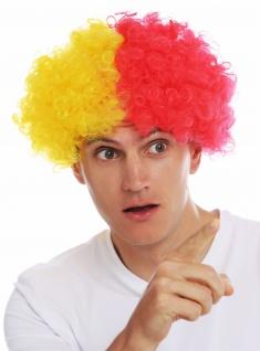 Perücke Karneval Afro Fan-Perücke Fußball Gelb Rot geteilt Clown Perrücke