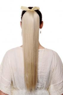 Haarteil Zopf Pferdeschwanz Steckkamm Band Blond Aschblond glatt lang 60 cm