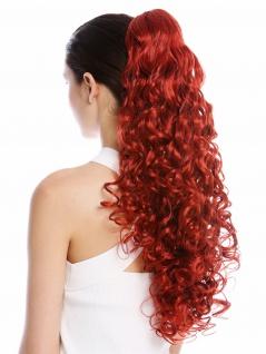 Haarteil Zopf Pferdeschwanz Steckkämme sehr lang voluminös lockig gelockt Rot