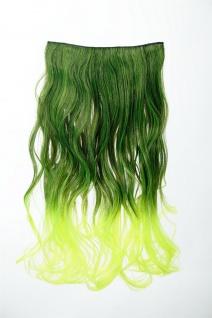 Extension Haarverlängerung Clip-In 5 Clip lockig zweifarbig Ombre Grün 50cm lang