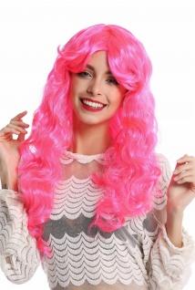 Perücke Damenperücke Halloween Karneval lang lockig voluminös pink rosa Scheitel