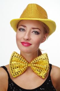 Fliege Groß Clownfliege Bowtie gold gelb Glitzer Pailletten Riesenfliege VQ-029 - Vorschau 3