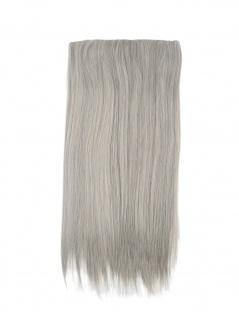 Clip-In Haarteil Haarverlängerung Extension breit 5 Clips lang glatt 54 cm grau