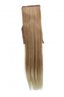 Haarteil ZOPF Blond-Mix glatt 45cm YZF-TS18-27T88 Band Klammer Haarverlängerung