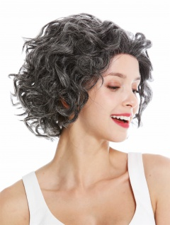 Perücke Damen Echthaar Lace-Front schwarz grau meliert Locken kurz schulterlang