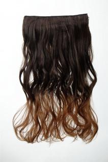 Extension Haarverlängerung Clip-In 5 Clip lockig zweifarbig Ombre Braun 50cm