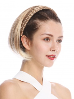 Halbperücke Haarteil edel geflochten Haarreif kurz glatt Blond Platin gesträhnt