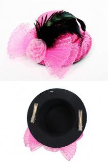 Fascinator Miniatur Hut Mini Zylinder Pink Rosa Damen Burlesque Pailletten H30 - Vorschau 2