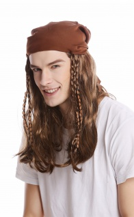 Perücke Damen Herren braun lang Kopftuch Bandana geflochtene Zöpfe Pirat Rocker