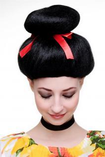 Karneval Fasching Perücke Geisha Asia Japan Cosplay China Girl Schwarz 2120-P103 - Vorschau 2
