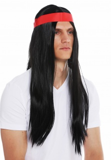 Perücke Herren 70s Hippie Indianer schwarz lang glatt Mittelscheitel Stirnband