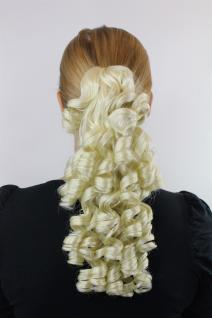 Haarteil Zopf Platinblond ca. 35cm spiralförmige Locken Extension Hprnig-613
