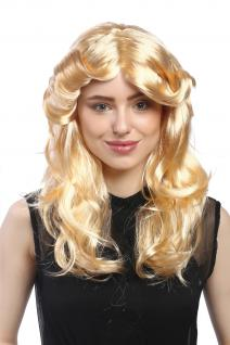 Perücke Damen Karneval lang gestuft Mittelscheitel Blond Goldblond Romantik
