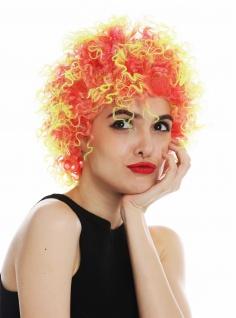 Perücke Karneval Damen Herren kurz kraus gelockt rot gelb Clown 31954-FR41-91